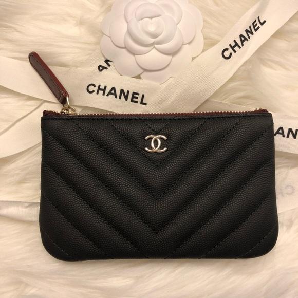 b5debb10 Chanel chevron caviar mini o case pouch wallet New NWT